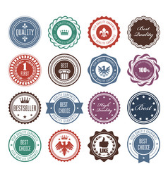 Emblems badges and stamps - prize seals designs vector