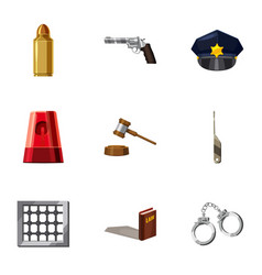 Crime prevention icons set cartoon style vector
