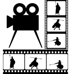 Movie camera and films vector