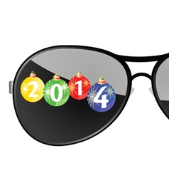 sunglasses with 2014 year color vector image