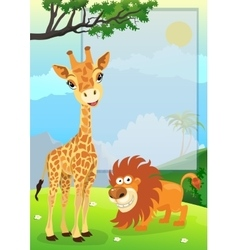 Jungle animals with sign vector