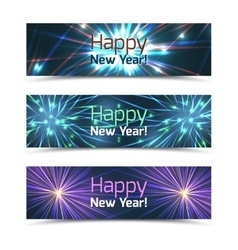 Happy new year banners set with fireworks vector