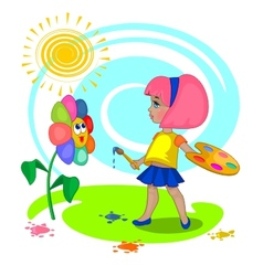 little girl with a palette vector image