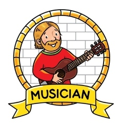 Funny musician or guitarist profession abc series vector