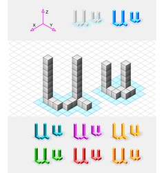Isometric font from the cubes Letter U vector image