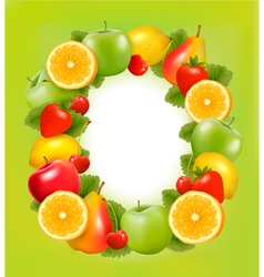 Fresh fruit in frame green background vector