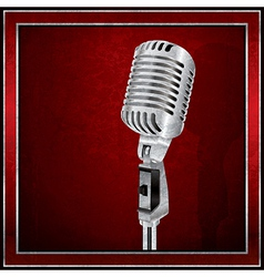 Abstract red background with the retro microphone vector image vector image