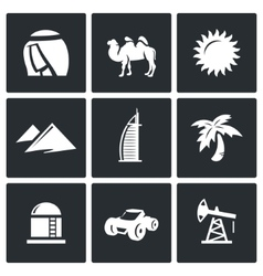 Arab emirates icons vector