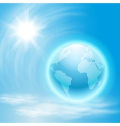 Background with globe and sun vector image