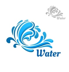 Blue wave with water splashes and drops vector image vector image