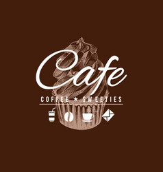 Cafe sign with hand drawn cupcake vector