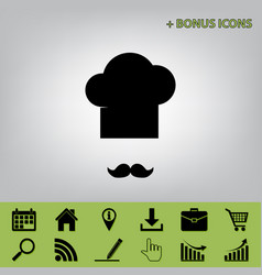 chef hat and moustache sign black icon at vector image vector image