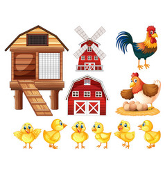 Chickens and cicken coops vector