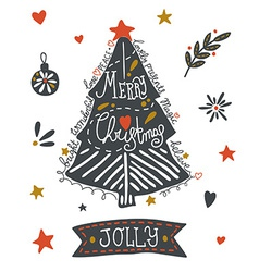 Christmas greeting card with sketchy elements vector