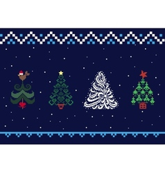 Collection of Christmas trees 05 vector image vector image
