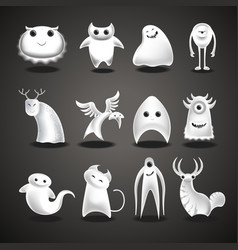 ghosts and monsters cartoon funny evil halloween vector image
