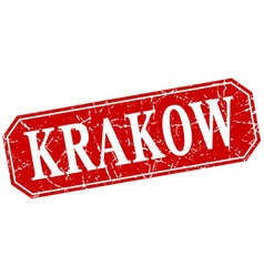 Krakow red square grunge retro style sign vector