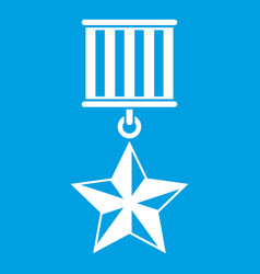 Medal star icon white vector