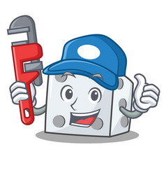 Plumber dice character cartoon style vector