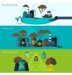 Pollution banner set vector