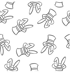 Rabbit and hat circus doodles vector