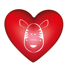 Red heart shape with silhouette face cute zebra vector