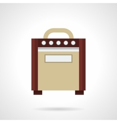 Retro guitar amplifier flat color icon vector