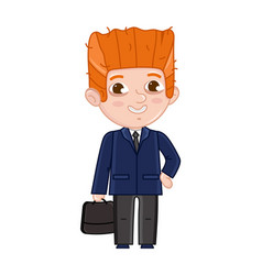 smiling little boy in business suit and tie vector image vector image