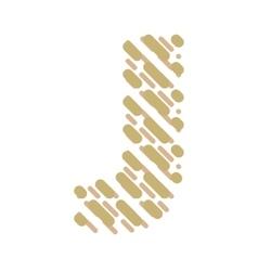 Striped latin alphabet letter j hatching font vector