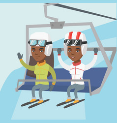 Two african-american skiers using cableway vector