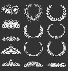 Vintage floral decorative elements and laurel vector image vector image