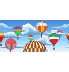 Vintage hot air balloons pattern vector