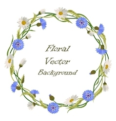 Wreath frame with wild flowers vector image