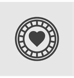 Casino chip with hearts icon vector