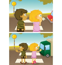Boy and girl crossing road vector image