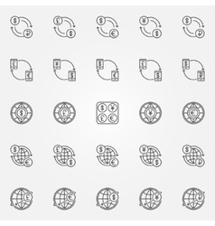 Currency exchange line icons vector