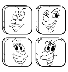 Four square faces vector image