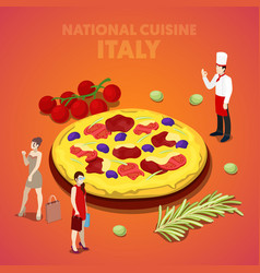 Isometric italy national cuisine with pizza vector