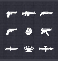 weapons icons set pistol assault rifle revolver vector image