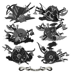 shields medieval hand drawing vector image