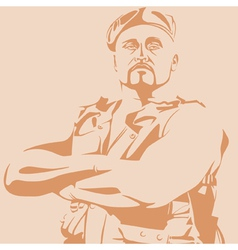 Male soldier in a beret and vest vector