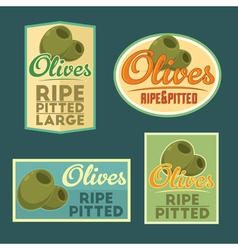 Set of ripe pitted olives badges vector