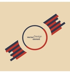 Round abstract badge with two wings template for vector