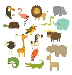 Cute woodland and jungle animals set vector