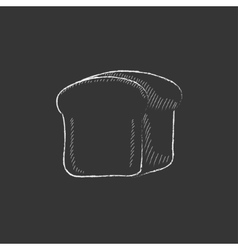 Half of bread drawn in chalk icon vector