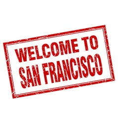 San francisco red square grunge welcome isolated vector