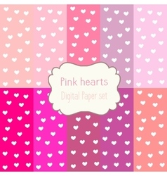 Digital papers pink hearts patterns backgrounds vector