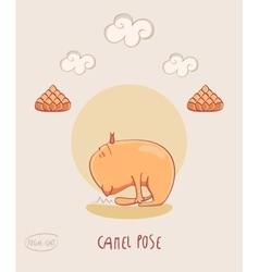 Red yoga cat in camel pose vector
