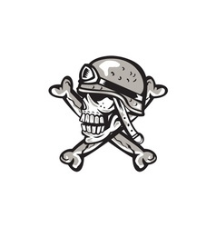 Skull military helmet crossed bones retro vector