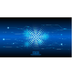 abstract blue cyber circuit background vector image vector image